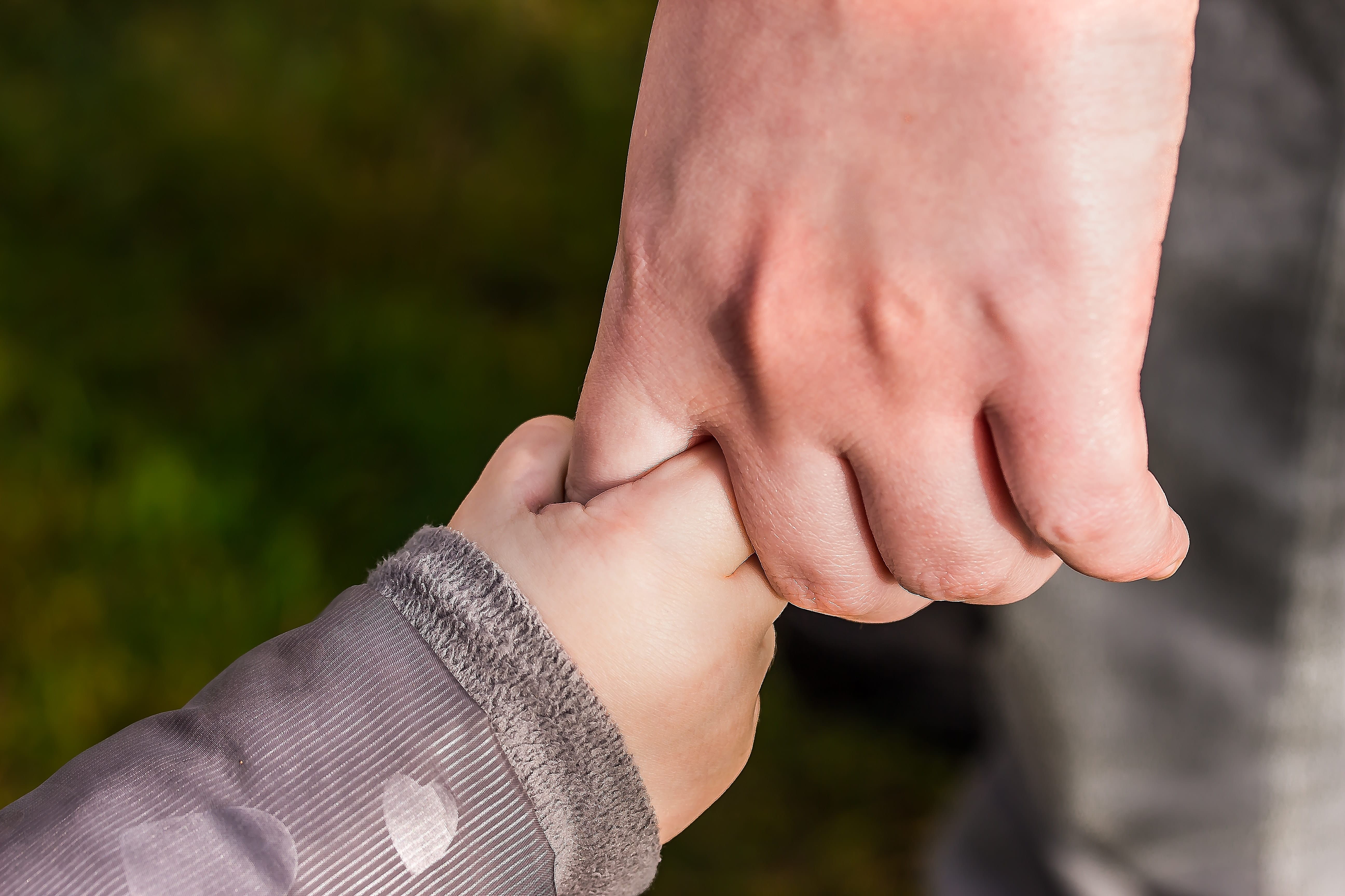 baby holding adult's hand
